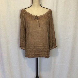 Brown wide neck with tie top
